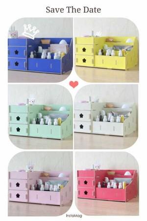 cosmetic desktop storage box mini / kotak aksesoris bedak lotion