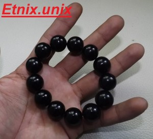 Gelang Natural Black Onyx @ Round 16 mm