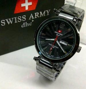 Jam Tangan Swiss Army dhc Pria Rantai Tanggal Hari fullblack