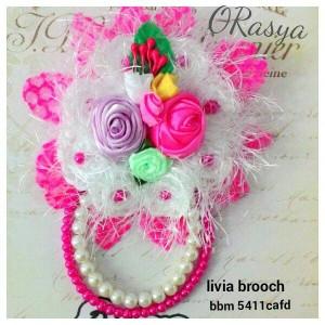 Livia fanta bros / bross / brooch jilbab pesta premium