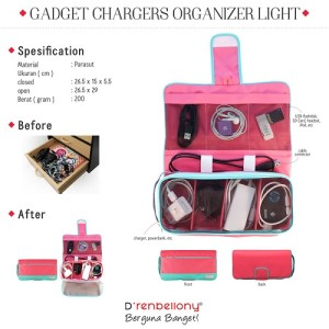 Charger Organizer Magenta - Turquoise Green