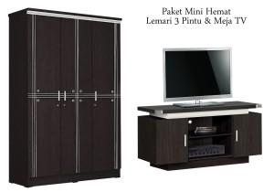 Lemari Pakaian 3 Pintu & Meja TV (Paket Mini Hemat)