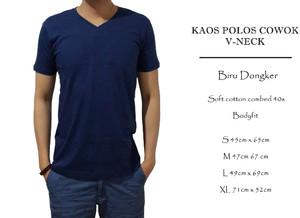 kaos polos bodyfit biru dongker v-neck