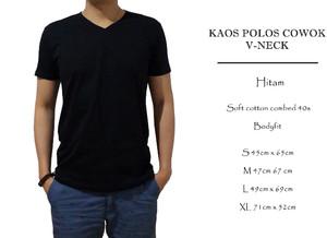 kaos polos bodyfit hitam v-neck