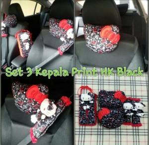 Bantal Mobil 3 in 1 HK Kepala Besar Print Black