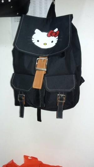 Ransel Hello Kitty Black Two Pocket
