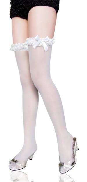 Stocking Lutut putih Pita #001