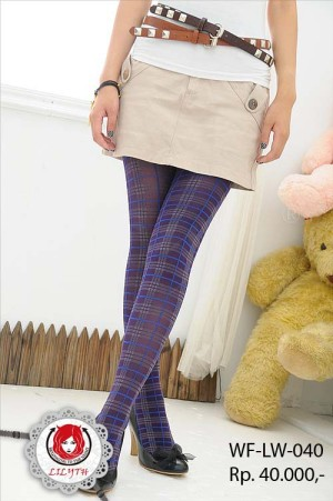 Plaid Tartan Pantyhose/Stocking - Purple Blue Gray #040