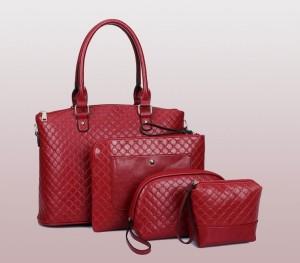 8912 TAS MERAH TANGAN HAND BAG 4 IN 1 WANITA IMPORT FASHION FORMAL PU