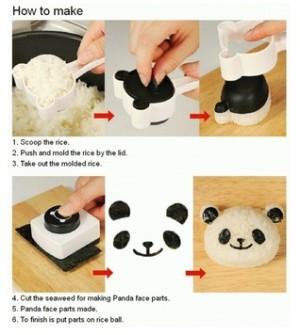 Panda set rice mold alat cetakan nasi bento tools food snack maker