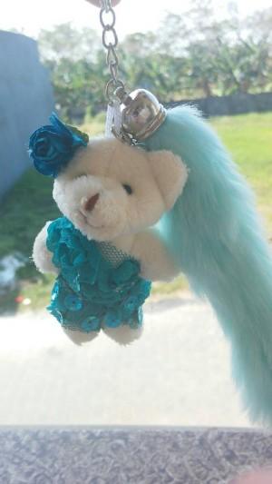 bag charm boneka teddy bear blink bling with furry fur