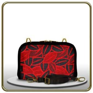 Dompet Makara Ovale HPO FLOCKING LEAF BLACK RED
