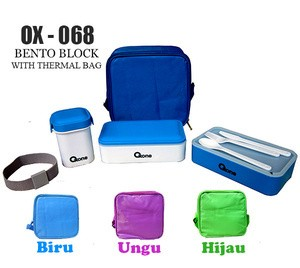 tempat bekal oxone bento block with thermal bag ox-068 / ox 068