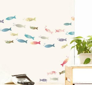 Set Stiker Dekorasi Dinding Motif 26-Ekor Ikan Warna-Warni