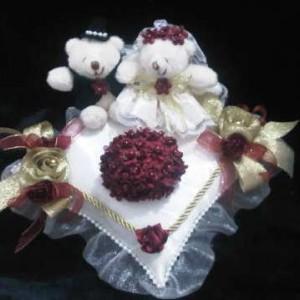 Bantal cincin wedding ring pillow boneka bantalan kotak cincin 3102