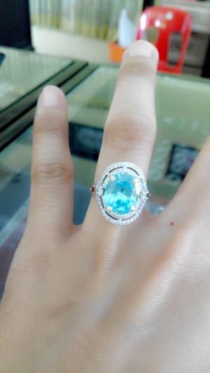 Cincin Perak Wanita Batu Blue topas