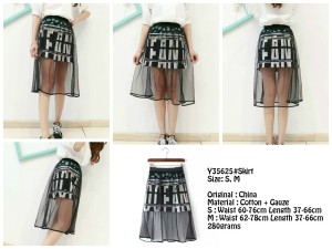 Rok A Line Graphic Gauze Layer Skirt Y35625