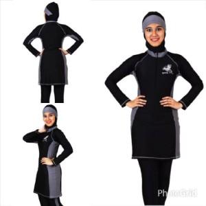 Baju Renang Muslimah kode SP03 Hitam Abu