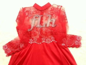 supplier baju hijab : amore red dress ori by flh
