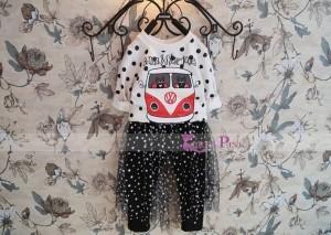 Stelan Impor - Korea Pink - Bus Polka + Skirt Legging set