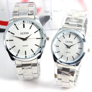JAM TANGAN GUESS COUPLE SILVER WHITE