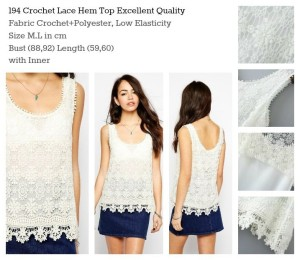 ID-194 Crochet Lace Hem Top