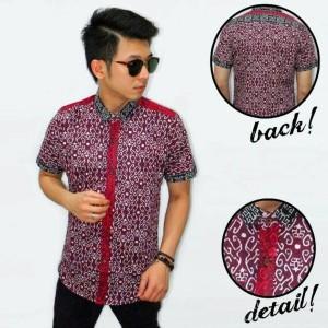 baju kemeja batik pria moden bunga maroon murah