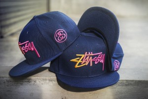 EXCLUSIVE SNAPBACK STUSSY NAVY FONT PATTERN