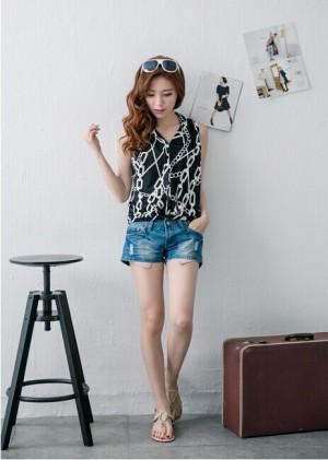 Baju FASHION WANITA Korea impor Color CHAIN BLACK T6501