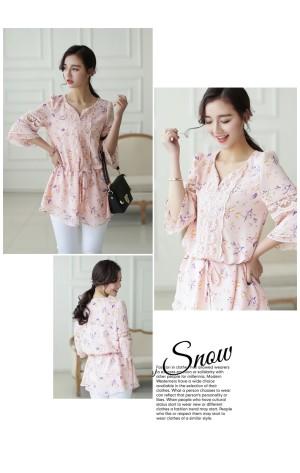Baju Wanita Cantik Korea Impor Color PINK T35273