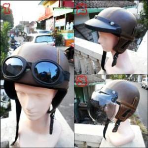 Helm Chips Retro Klasik Brown Solid + Kacamata + Pet + Kaca Bogo Asli