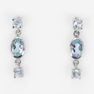 Natural Blue Topaz Sterling 925 Silver Stud Earrings /E4800
