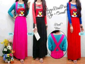 (2in1) Angry Bird printed Top+Overall/Overall Angry Bird/Setelan Rok