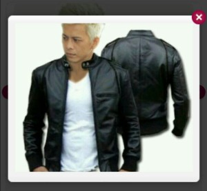 jaket kulit sintetis ariel list hitam sk24