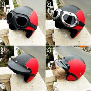 helm retro clasic merah hitam + kaca mata google