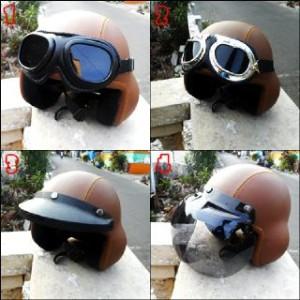 helm pilot retro clasic coklat polos + kaca mata google