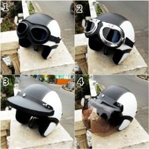 helm retro clasic hitam putih + kaca mata google