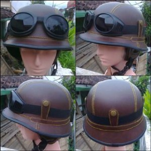 helm retro vespa nazi coklat polos + kaca mata google