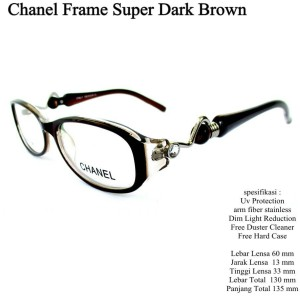 kacamata frame chanel super premium full set dark brown