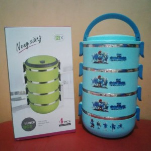 rantang / stainless steel lunch box susun 4 karakter the smurfs