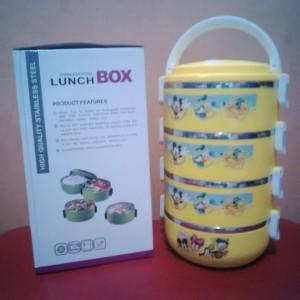 rantang / stainless steel lunch box susun 4 karakter dishney kuning