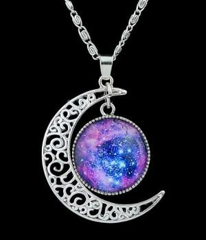 Moon Necklace Galaxy Universe ~ Kalung Bulan Batu Kualitas Import