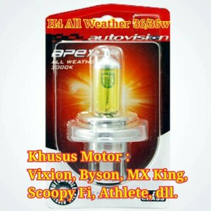 Halogen Autovision H4 All Weather (Kuning) 12v 36/36w