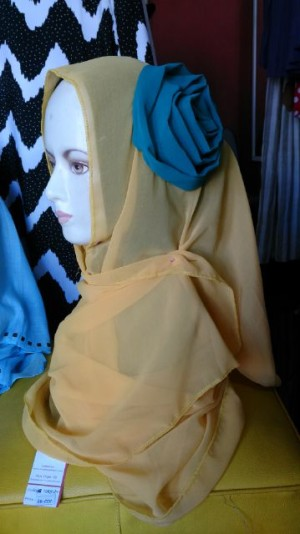 Jilbab Instan / Syiria Fatin / Jilabab Langsung Chiffone Bunga B 1089