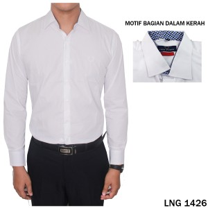 Kemeja Pria Panjang Katun Import Putih  LNG 1426