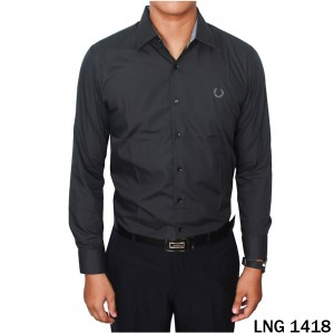 Kemeja Panjang Formal Katun Import Navy  LNG 1418