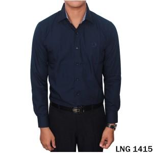 Kemeja Kantoran Pria Katun Import Biru Tua  LNG 1415
