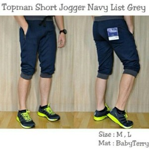 Celana Topman Short Jogger Navy List Grey !