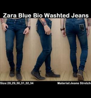 Celana ZARA Blue Bio Washed Jeans !