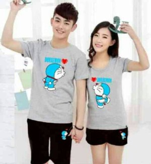 setelan couple doraemon grey + celana